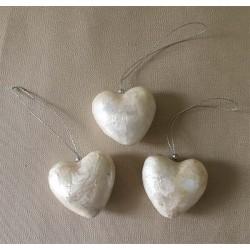 Coeur tout Capiz 6cm set de 6  - lot de 1