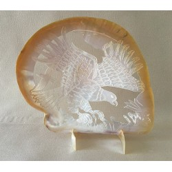 0720 OYSTER PEARLY CARVED EAGLE 15/20cm per 1
