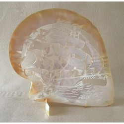 Huître Perlière Sculptée Voilier 15/20cm lot de 1