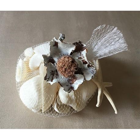 Filet white seashells coconut flower