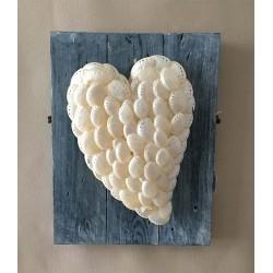 Coeur Abalone Nacrée sur cadre Bois lot de 1