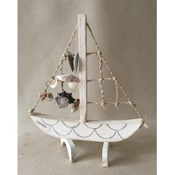 1072 WOODEN SAIL BOAT WITH ROPE 20cm per 12