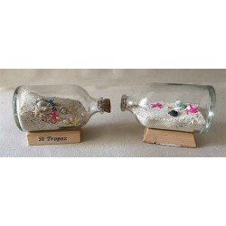 Bottle with White Sand - Customizable shells 10cm lot of 12