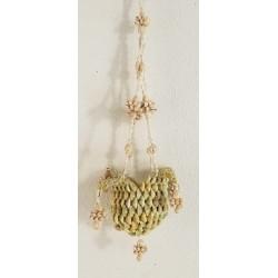 Porte plante en coquillages à pendre 60cm par 3
