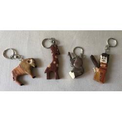Porte clefs bois assortis par 12