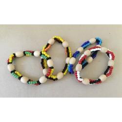 Bracelet Grosses Perles Bois lot de 12