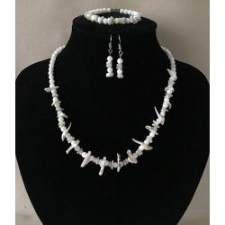 Parure Collier / Bracelet / BO Perles & Coquillages lot de 2