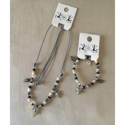 Collier + Bracelet coeur et coquillages couleurs assorties par 24