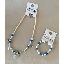 Parures Collier / Bracelet Coeur Nacre et perles par 24