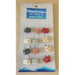 Ring Elastic Pearls Colors (plate of 12)