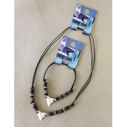 Parure collier/bracelet dent de requin résine par 24