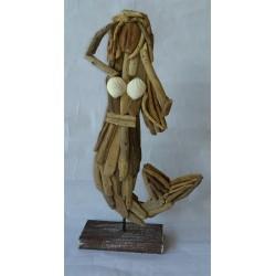 Sirène en bois flotté naturel 40cm par 2