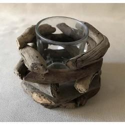 Bougeoir simple bois flotté naturel D.9cm H7cm par 6