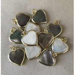 Double-sided mother-of-pearl heart pendant 2.5cm by 12