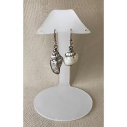 Silver border shell earrings by 12