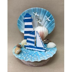 Sea and boat deco in shell 12cm by 6