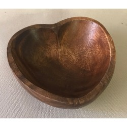 Wooden heart bowl dia 10cm x H 3.5 by 6