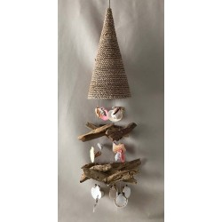 Floating wood suspension and shells 70cm by 3