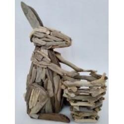 Porte plante lapin bois flotté 38 x54 cm par 1