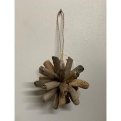 boule à suspendre bois flotté diam. 10 cm par 6