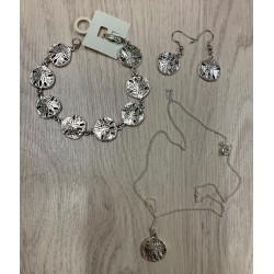 """Parure (collier-bracelet-BO) métal """"sand dollar"""" par 12"""