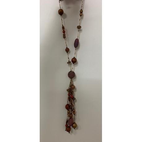 Collier perles tissu,bois,verre & pompon par 12