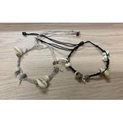 Bracelet macramé porcelaine/dauphin nacre plaque de 25 par 1
