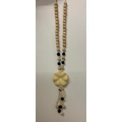 Collier fleur & perles bois par 6