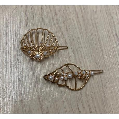 Barette à cheveux coquillages et perles assorties par 6