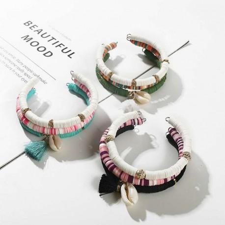 Set de 3 bracelets pompon et cypraea couleurs assorties par 6