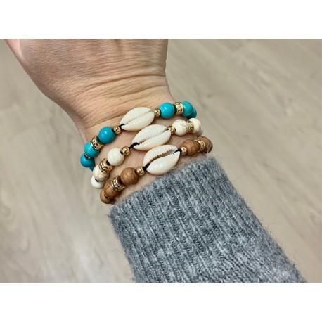 Bracelets fantaisie cypraea couleurs assorties par 6