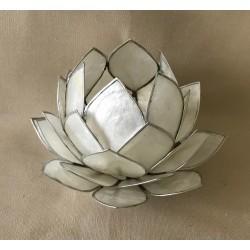 Bougeoir fleur lotus capiz blanc diam. 14cm par 6