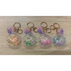 Porte clefs pecten paillettes et perles couleurs assorties par 12