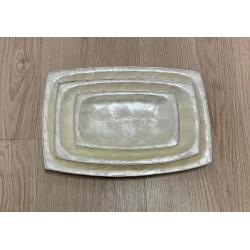 Set de 3 plats capiz rectangle bordure argentée par 3