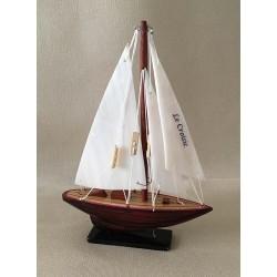 Boat Sailing Nacré Hull Wood 12cm lot of 3