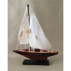 Boat Sailing Nacré Hull Wood 20cm lot of 1
