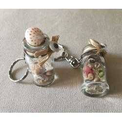 Key holder bottle deco sand - shells lot of 25